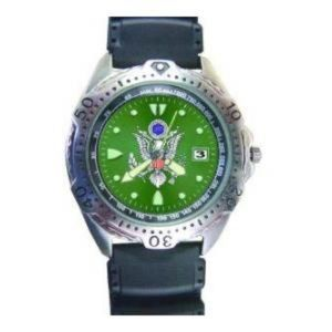 Diver Watch with Date Display Green Face (Army)